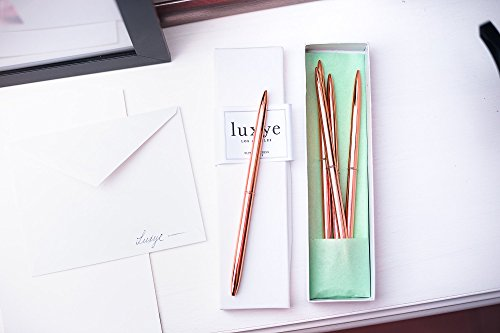 Rose Gold Pens 6 Piece Pen Set - Lightweight Rose Gold Metal Ballpoint Pen in Black Ink in White Glossy Gift Box - Rose Gold Office Decor Supplies (Rose Gold/Black Ink) Photo #4