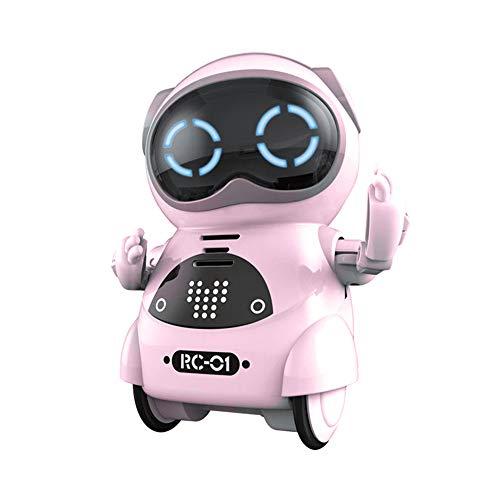 RC TECNIC Mini Robot Interactivo para Niños Reconoce Tu Voz Responde Español Baila Música | Pocket Toy Robot | Juguete electronico Infantil de Bolsillo (Rosa)