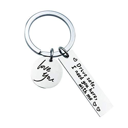 Daesar Edelstahl Schlüsselanhänger zum Gravieren Drive Safe I Need You here with me Schlüsselband Freundschaft Auto