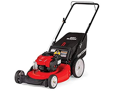 """Craftsman M115 11A-B25W791 Push Lawn Mower, durable 7"""" Front & 8"""" Rear wheels, Red"""