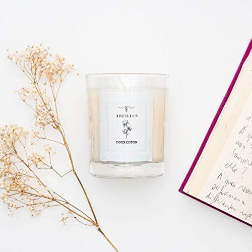 Abeillus Fragrance – Vela perfumada natural 100 % vegetal – Jardín de Eden- suave algodón – Perfume suave y descendente – Fabricada en Francia – 45 horas de combustión – 180 g