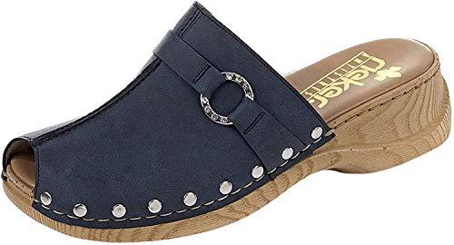 Rieker 65062 Damen Clogs&Pantoletten,Gummi-Pantolette,Sommerclogs,modisch,Fashion,denim/15 (Blau),40 EU / 6.5 UK