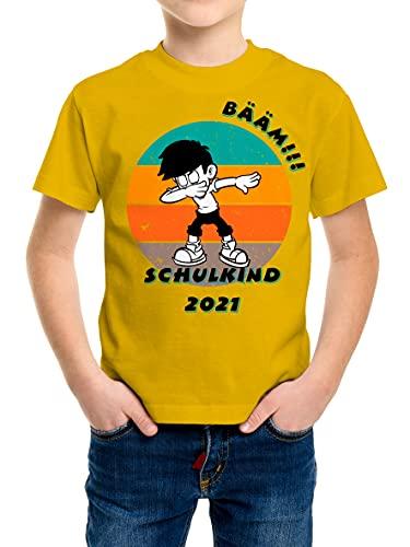 BOO Shirt - T-Shirt BÄÄM!! Kind Motiv, Schulkind 2021, Einschulung, Geschenk, Junge, Mädchen, Schule, Schulanfang, bunt, Kinder, Schuleinführung (Gelb, 116)