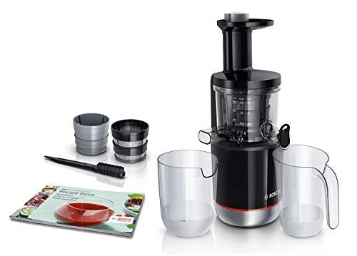 Bosch MESM731M Sapcentrifuge, zachte sap, zeer stil, eenvoudige reiniging, voor harde groenten en fruit, 150 watt, zwart