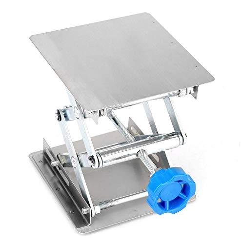 Plate-forme de Levage de Laboratoire Ssupport de Levage de Laboratoire en Acier Inoxydable Tables de Elévatrice de Laboratoire 100 * 100 * 160mm(100 * 100 * 160m Blue handle)