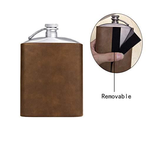 Ice Pattern Straße Reintitan Hip Flask, Whisky-Liebhaber Außenflach Flagon mit Trichter/abnehmbare Schutzhülle, (Size : 9oz)