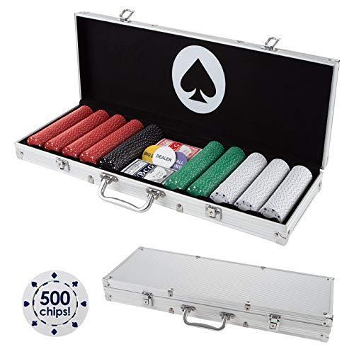 Trademark Poker Card Suits Poker Chip Set- 500 Pieces of 11.5-Gram Composite Gambling Chips-Aluminum Case, 2 Decks of Cards, Dealer & Blind Buttons
