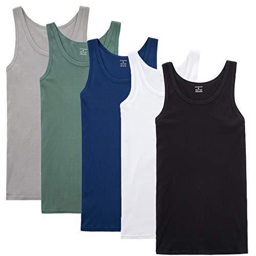YOUCHAN Camiseta de Tirantes para Hombre Pack de 5 de Algodón 100% más Colores-Mix-XL