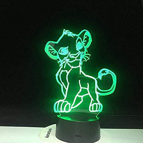 Cartoon Nachtlampje The Lion King Led 3D Lichtkleur Veranderende Novelty Lamp Slaapkamer Bedlamp Voor Kerstcadeau Home