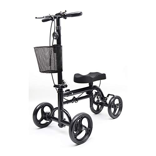 Knee Scooters for Foot Injuries - Give Me Deluxe Medical Crutch Alternative, Knee Scooter All Terrain, Streeable Foldable Knee Walker for Broken Leg, Ankle Injuries with Orthopedic Seat Pad in Black