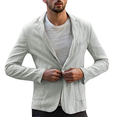 KPILP Herren Anzugjacke Leinen Freizeit Sakko Lange Ärmel Anzug Casual Bequem Jacke Loose klassisch Reverskragen mit Eine Knopf Slim Fit Leinenjacke