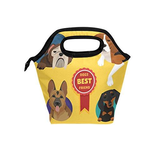 coosun Hunderassen Lunch Tasche Isolierte Thermo Kühler Lunch Bag Wasserdichte Neopren Lunch Handtaschen Tote mit Reißverschluss für Outdoor-Reise Picknick
