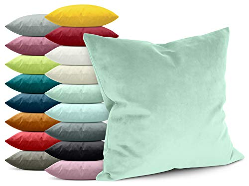 npluseins Samtkissenhülle - einfarbiges Design - erhältlich in 17 modischen Farben und in 4 verschiedenen Größen, Mint, ca. 40 x 40 cm
