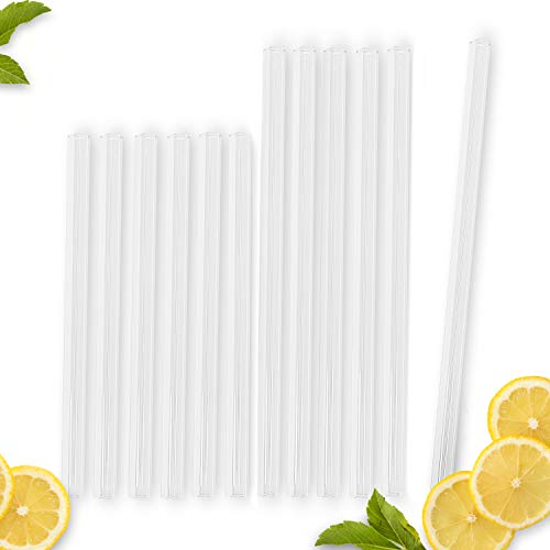 Vindor Trinkhalme aus Glas – 12 wiederverwendbar, plastikfrei, spülmaschinenfest – Glas Strohhalme, 4 Reinigungsbürsten