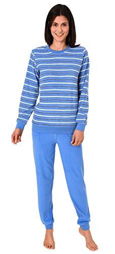 RELAX by Normann Kuscheliger Frottee Pyjama für Damen mit Bündchen und geringelten Oberteil - 291 13 772, Farbe:hellblau, Größe2:40/42