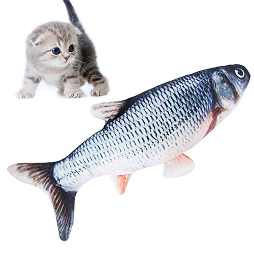 [ New Upgrade ] Moving Cat Kicker Fish Toy, Realistic Plush Simulation Electric Doll Fish USB Rechargeable, Funny Interactive Pets Chew Bite Supplies for Cat/Kitty/Kitten Fish Flop Cat Toy Catnip Toys