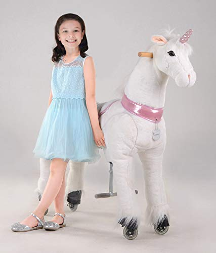 UFREE Horse Best Birthday Gift for Girls. Action Pony Toy, Ride on Large 44'' for Children 6 Years Old to Adult, Amazing Birthday Surprise.(unicorn with pink horn)