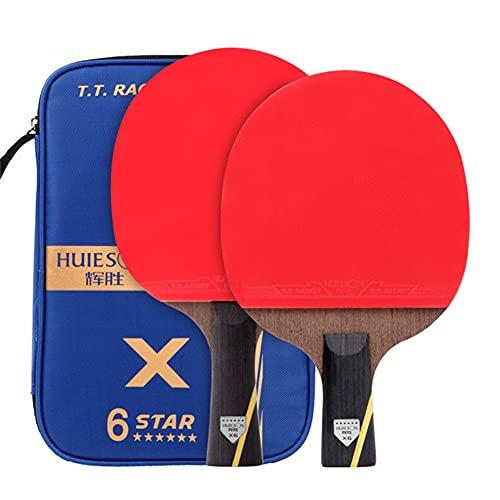 HEEYEE 2 unids Nuevo Conjunto de Tenis de Mesa de Carbono Mejorado Set Super Pothed Ping Pong Racket Bat para el Entrenamiento de un Club de Adultos,1 Horizontal and 1 Straight