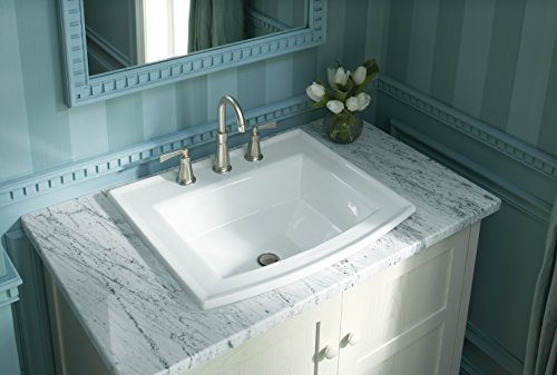 KOHLER K-2356-8-0 Archer Drop-In Bathroom Sink with 8-Inch Centers, White