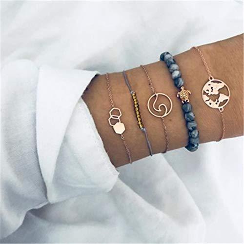 YIKOUQI Pulseras Bohemias Brazaletes Set Vintage Bead Boho Charm Bracelet Mujer Accesorios de joyería