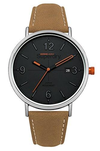 Superdry Unisex Erwachsene Analog Quarz Uhr mit Leder Armband SYG190T