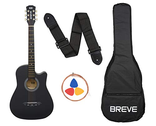 Breve 38-inch Cutaway Design Black Acoustic Guitar with Bag,Strings, Pick and Strap(Black)