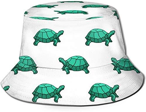 Sombrero plano transpirable unisex con diseño de perro carlino corgi con gafas, sombrero de verano de pescador, estampado de tortugas verde, talla única