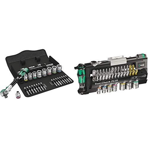 Wera 8100 SB 6 Zyklop Speed 3/8' Multifunction Ratchet & Socket Set, Metric, 29pc, 05004046001 & Tool-Check Plus Mini Bit Ratchet, Socket, Screwdriver & Bit Set, 39pc, 05056490001