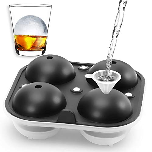 VARWANEO Round Ice Cube Mold,2.5 Inch Large Whiskey Ice Ball Maker Mold, Sphere Ice Cube Tray Silicone BPA Free (Updated version with Lid and Funnel) for Bourbon and Cocktails