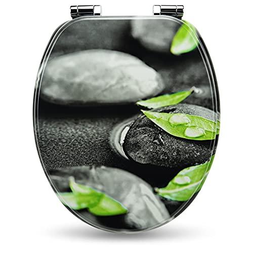 Holzkern WC Sitz mit Absenkautomatik von Sanfino, hochwertige Qualität & viele bunte Motive, bequemer Sitzkomfort, einfache Montage inklusive Montageanleitung W1002C Rocks