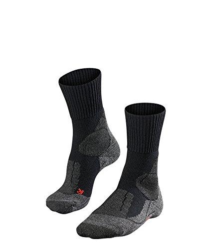 FALKE Damen Trekking-Socke TK 1 wadenlange Wandersocke mit Merinowolle für den festen Bergstiefel (Kategorie B/C und C) in bergigem Gelände, 1 Paar, Schwarz (Black-Mix 3010), 39-40 EU