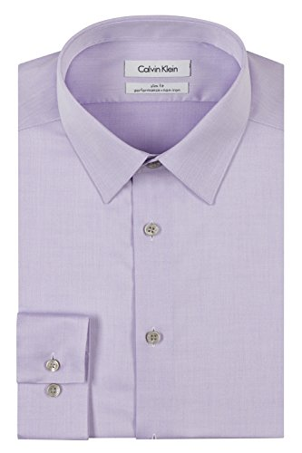 Calvin Klein Men's Dress Shirt Slim Fit Non Iron Herringbone, Lilac, 16