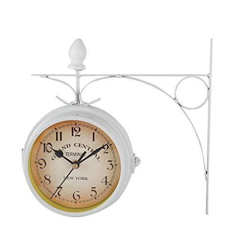 SANON Reloj de Pared de Jardín Relojes de Pared Retro Sala de Estar de Doble Cara de Metal Mudo para Sala de Estar Dormitorio Decoración de Arte de Pared para El Hogar (Blanco)