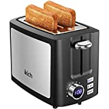 IKICH Toaster 2 Slice 9 Settings, LCD Screen Stainless Steel, Wide Slot, Cancel/Bagel/Defrost/Reheat Function, Removal Crumb Tray, 900W, Black