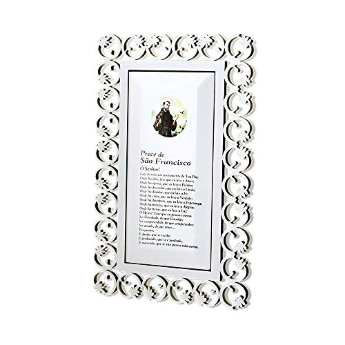 Quadro Decorativo com Oração São Francisco de Assis 18 x 27 cm Design Medalhas