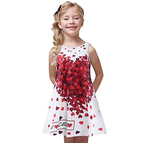 FRAUIT Kleid Mädchen Kinder Kleid Rundhals Blumen Beiläufig Knielänge Sommerkleid Lose Vintage Sleeveless 3D Blumendruck Boho Täglichen Party Strand Urlaub Tank Short Mini Kleid