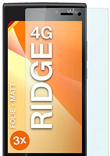 moex Schutzfolie matt kompatibel mit Wiko Ridge 4G - Folie gegen Reflexionen, Anti Reflex Bildschirmschutz, Matte Bildschirmfolie - 3X Stück