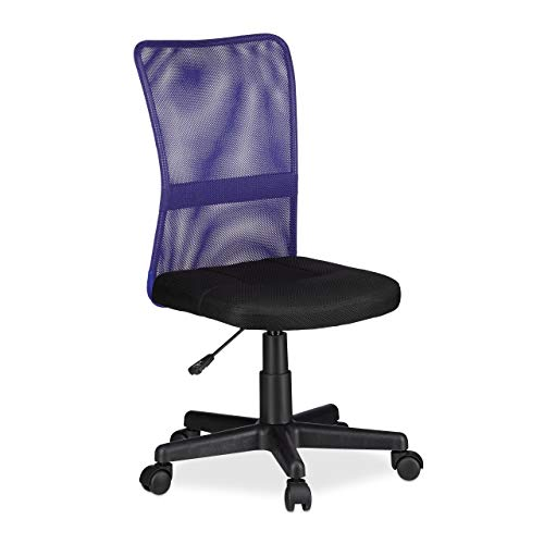 Relaxdays Silla de Oficina giratoria para niños, ergonómica, soporta hasta 90 kg, 102 x 55 x 55 cm, Color Morado