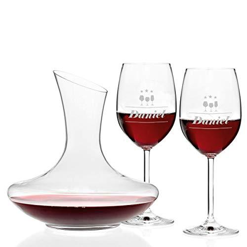 polar-effekt Set di 3 bicchieri da vino Leonardo e decanter da vino personalizzati con incisione – idea regalo per compleanno, Natale – motivo 3 stelle vino