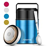 Soup Thermos Food Jar Lunch Box Insulated Lunch Container for Hot Food Wide Mouth Alxeme 27 oz Stainless Steel Vacuum Thermal Bento Box with Folding Spoon Flexible Handle Leak Proof Food Flask – Blue