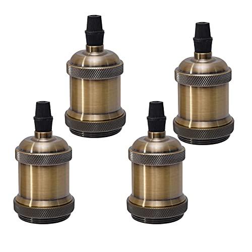 Sevenpers Portalámparas Vintage E27, 4 piezas Casquillos para Bombillas Adaptadores de Portalámparas Cerámica Edison retro...