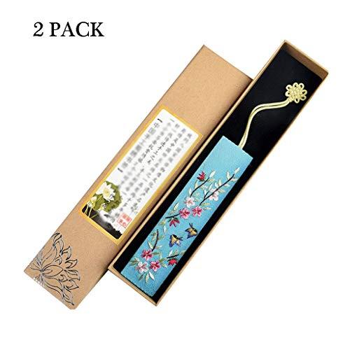 Zlw-shop Vintage Lesezeichen Hand Bestickt Lesezeichen, im chinesischen Stil Retro Stoff Lesezeichen, for Freunde und Familie (2ST) Lesezeichen