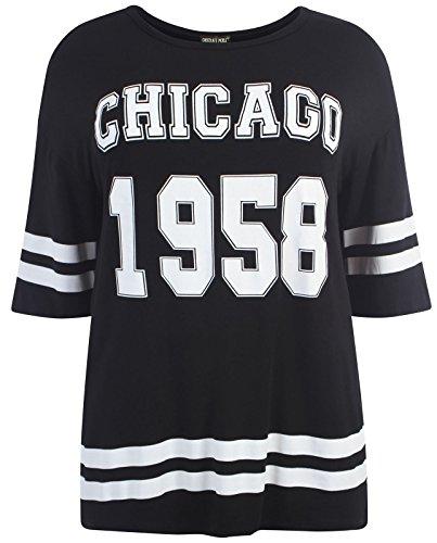Chocolate Pickle ® Neue Damen Übergrößen Sackartige Baseball Varsity T-Shirt Oberteile