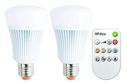 iDual JE0127072 LED-Leuchtmittel in Kolbenform A und Gewinde inklusiv Fernbedienung, Aluminium, Weiß, 119 x 68 x 68 cm