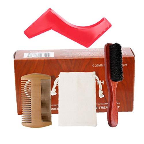 Berrywho Kit para el Cuidado de la Barba Crecimiento de la Barba y estética Kit de Recorte del Pelo fijados Barba Peine Cepillo Estimular Crecimiento de la Barba con la Regla Shape Regalo para los