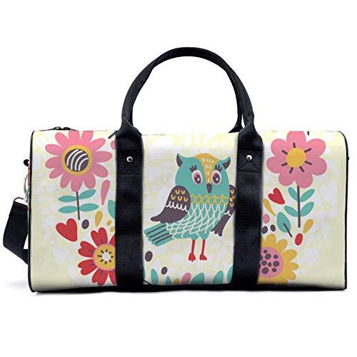 Bolsa de viaje de búhos y flores, bolsa de viaje, yoga, camping, gimnasio, bolsa de hombro, bolsa de lona ligera para hombres y mujeres