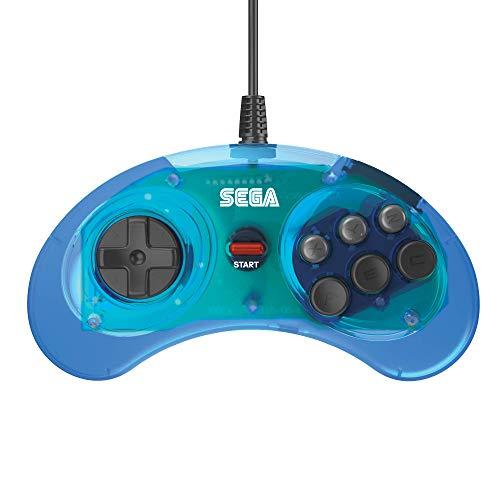 Retro-Bit Official SEGA Mega Drive Controller 6-Button Arcade Pad for Sega Mega Drive/Genesis - Original Port - Clear Blue