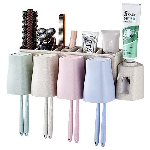 Tandenborstelhouder tandenborstelhouder muur bevestigde geen boormachine met 4 kopjes elektrische tandenborstel automatische tandpastadispenser opslag natuurlijke tarwestro anti-stof tandenborstel opslag