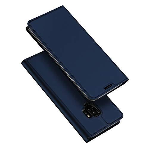 DUX DUCIS Cover Samsung Galaxy S9, Flip Caso Custodia Pelle PU con [Funzione Stand] [Slot Cart] [Magnetica] per Samsung Galaxy S9 (Blu)