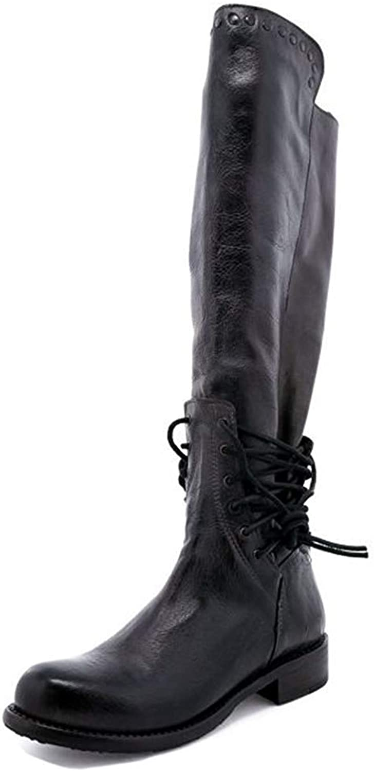Unm Women's Vintage Studded Strappy Round Toe Zip Up Chunky Low Heel Knee High Riding Boots with Zipper